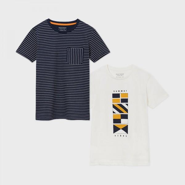 06076-037 No 10-18 ετών Σετ 2 μπλούζες μπλε-σκούρο κοντομάνικες σχέδιο και ρίγες αγόρι Mayoral